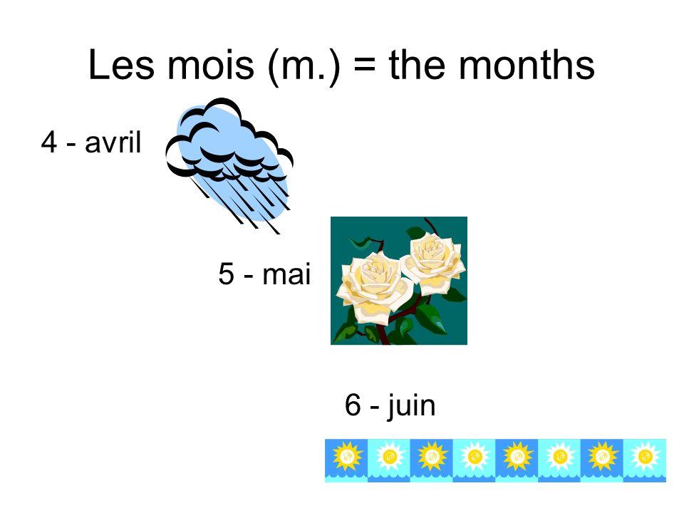 Les mois (m.) = the months 4 - avril 5 - mai 6 - juin