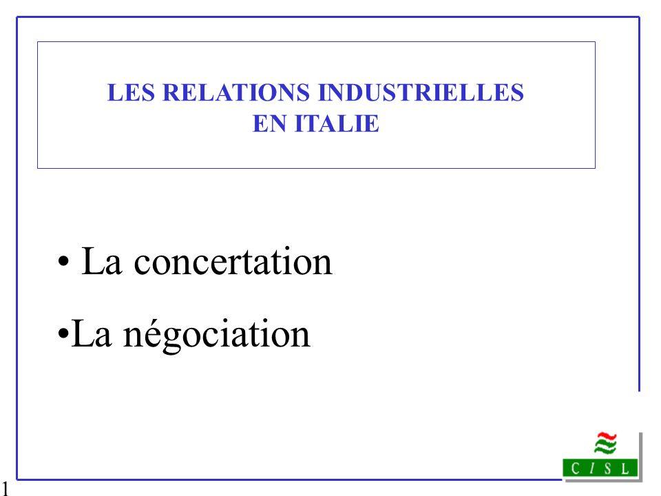 1 LES RELATIONS INDUSTRIELLES EN ITALIE La concertation La négociation