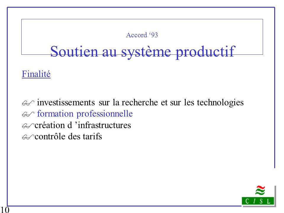 10 Accord 93 Soutien au système productif Finalité investissements sur la recherche et sur les technologies formation professionnelle création d infra