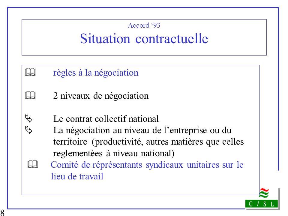 8 Accord 93 Situation contractuelle règles à la négociation 2 niveaux de négociation Le contrat collectif national La négociation au niveau de lentrep