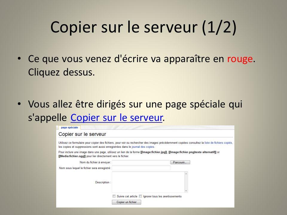 Copier sur le serveur (1/2) Ce que vous venez d'écrire va apparaître en rouge. Cliquez dessus. Vous allez être dirigés sur une page spéciale qui s'app