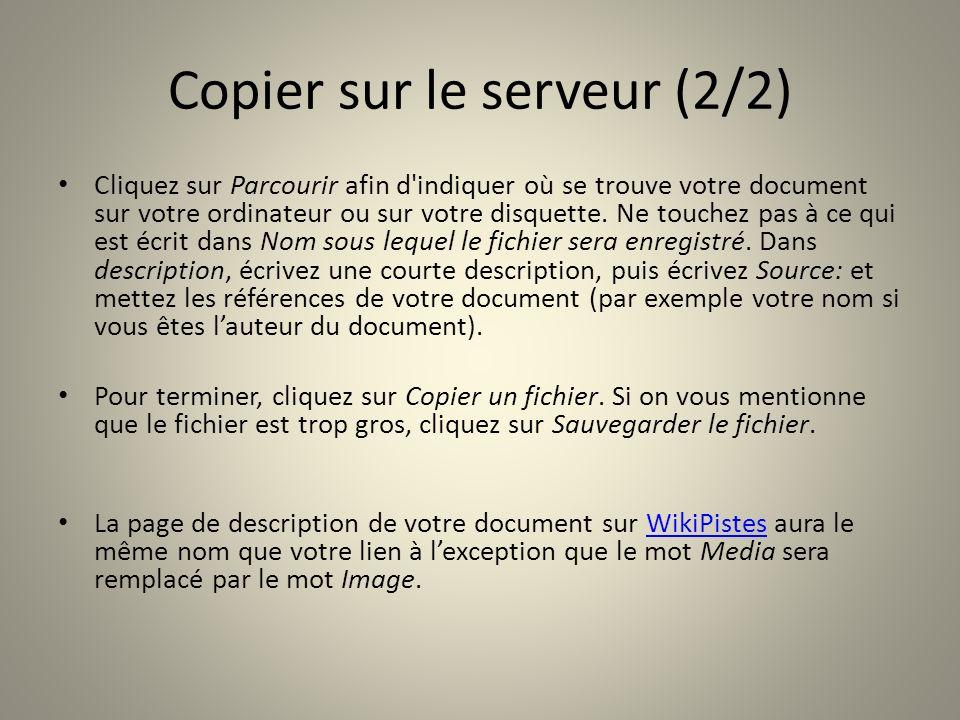 Copier sur le serveur (2/2) Cliquez sur Parcourir afin d'indiquer où se trouve votre document sur votre ordinateur ou sur votre disquette. Ne touchez