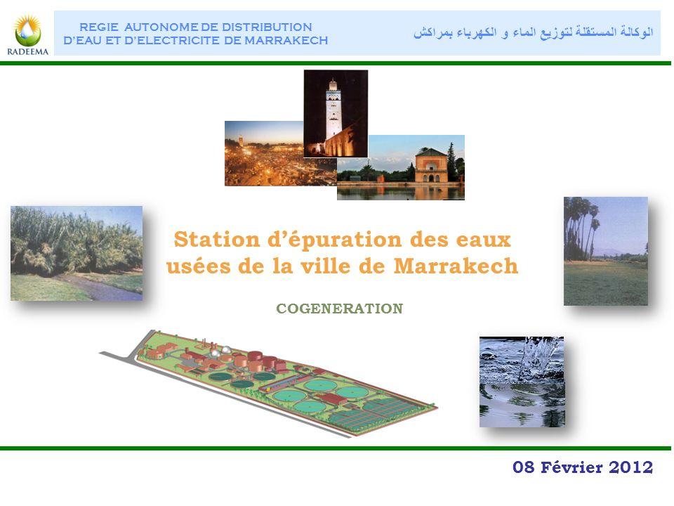 Station dépuration des eaux usées de la ville de Marrakech 08 Février 2012 REGIE AUTONOME DE DISTRIBUTION DEAU ET DELECTRICITE DE MARRAKECH الوكالة ال