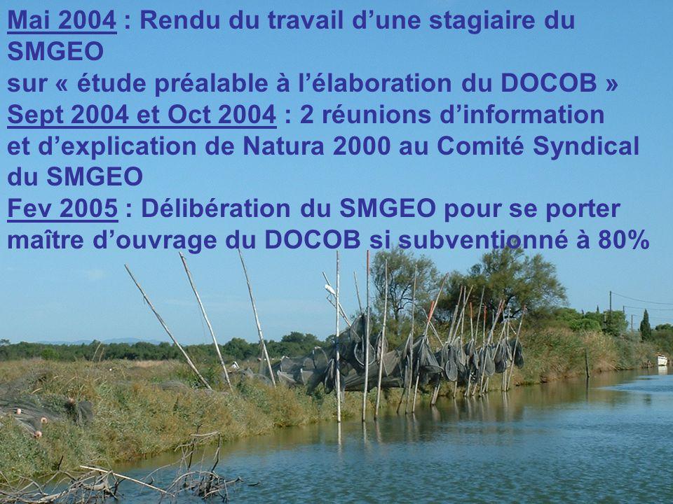 Mai 2004 : Rendu du travail dune stagiaire du SMGEO sur « étude préalable à lélaboration du DOCOB » Sept 2004 et Oct 2004 : 2 réunions dinformation et dexplication de Natura 2000 au Comité Syndical du SMGEO Fev 2005 : Délibération du SMGEO pour se porter maître douvrage du DOCOB si subventionné à 80%