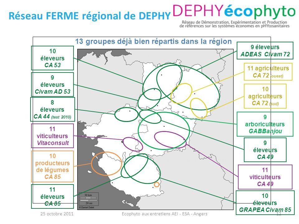 13 groupes déjà bien répartis dans la région 12 Réseau FERME régional de DEPHY 25 octobre 2011Ecophyto aux entretiens AEI - ESA - Angers 8 éleveurs CA