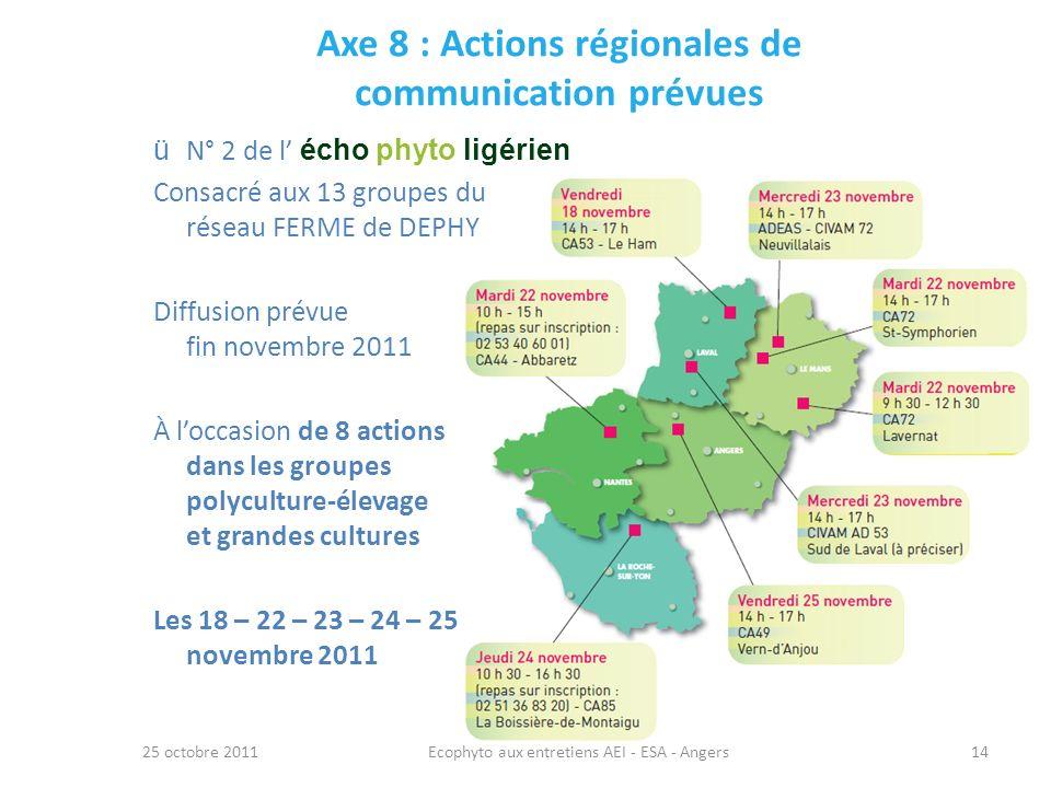 Axe 8 : Actions régionales de communication prévues 25 octobre 2011Ecophyto aux entretiens AEI - ESA - Angers14 ü N° 2 de l écho phyto ligérien Consac