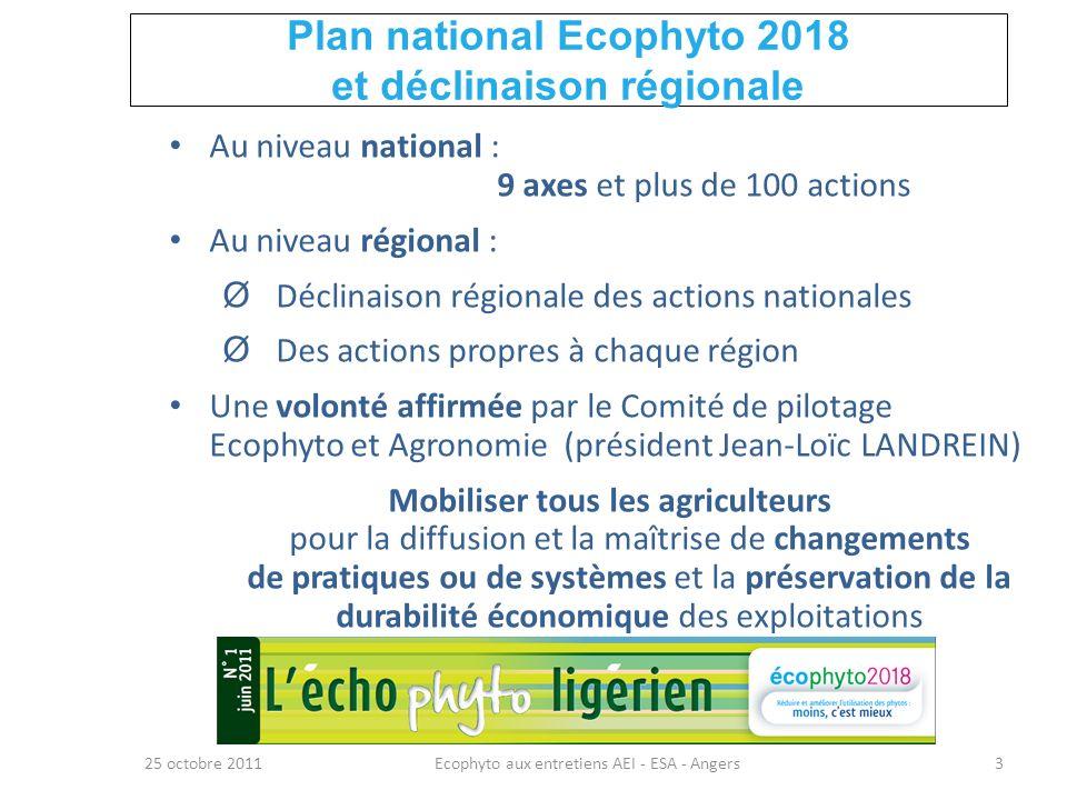 Plan national Ecophyto 2018 et déclinaison régionale 25 octobre 2011Ecophyto aux entretiens AEI - ESA - Angers3 Au niveau national : 9 axes et plus de