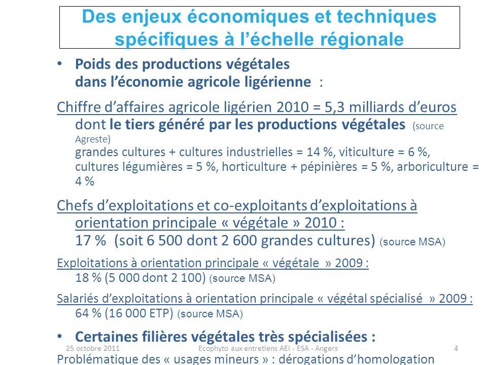 Volonté politique régionale de créer une dynamique forte 25 octobre 2011Ecophyto aux entretiens AEI - ESA - Angers5 Réduire lutilisation des phytos en restant dans une vision globale de la durabilité pour lagriculture et lagriculteur Améliorer lutilisation des phytos : réduire leur impact sur le milieu, la santé des utilisateurs (agriculteurs) et des consommateurs durable viablevivable équitable