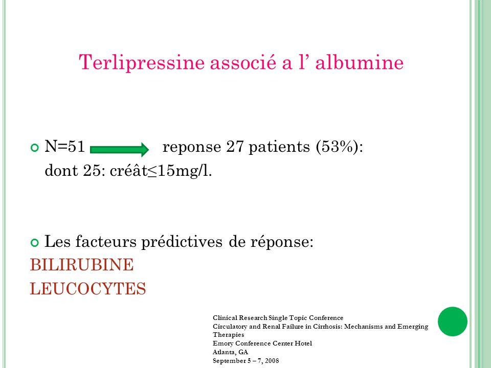 Terlipressine associé a l albumine N=51 reponse 27 patients (53%): dont 25: créât15mg/l. Les facteurs prédictives de réponse: BILIRUBINE LEUCOCYTES Cl