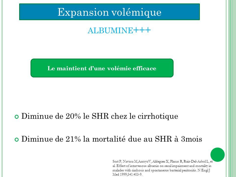ALBUMINE +++ Diminue de 20% le SHR chez le cirrhotique Diminue de 21% la mortalité due au SHR à 3mois Sort P, Navasa M,ArroyoV, Aldeguer X, Planas R,