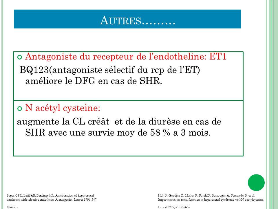 A UTRES ……… Antagoniste du recepteur de lendotheline: ET1 BQ123(antagoniste sélectif du rcp de lET) améliore le DFG en cas de SHR. N acétyl cysteine: