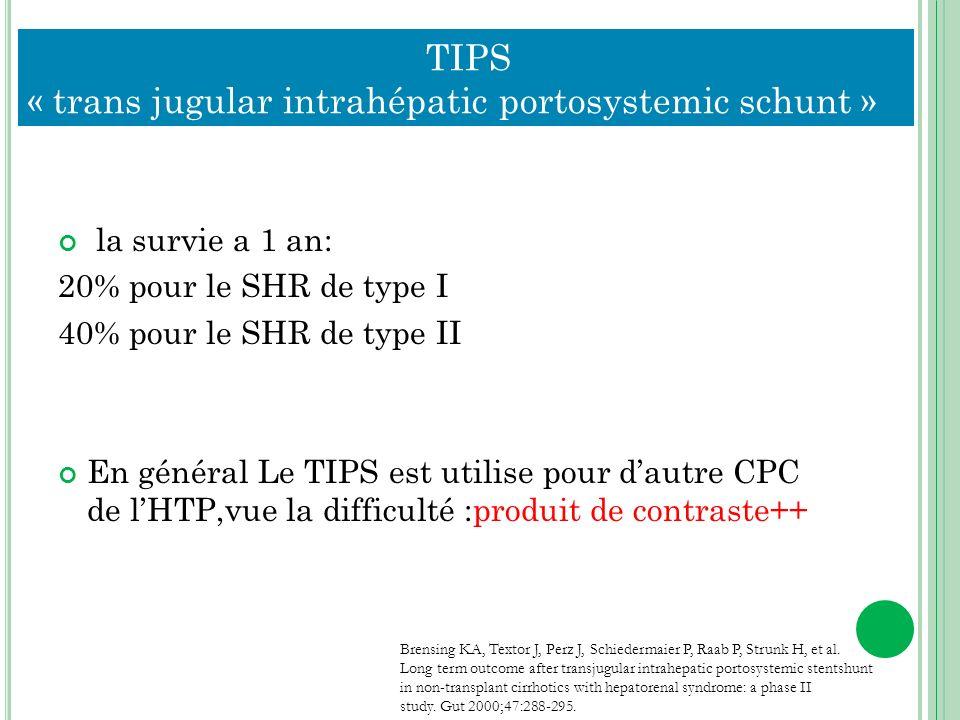 TIPS « trans jugular intrahépatic portosystemic schunt » la survie a 1 an: 20% pour le SHR de type I 40% pour le SHR de type II En général Le TIPS est