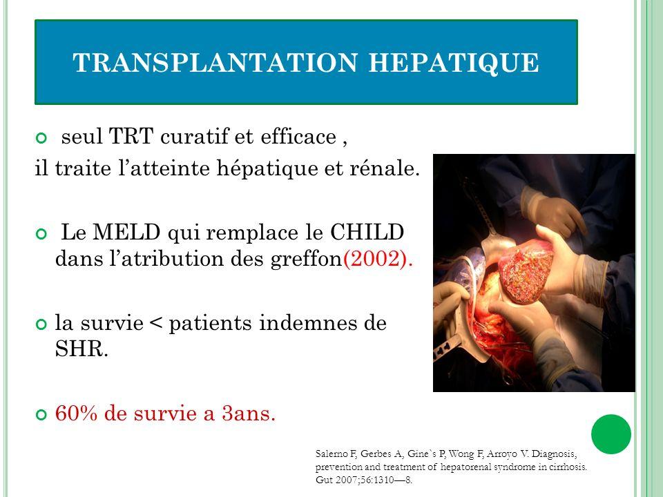 seul TRT curatif et efficace, il traite latteinte hépatique et rénale. Le MELD qui remplace le CHILD dans latribution des greffon(2002). la survie < p
