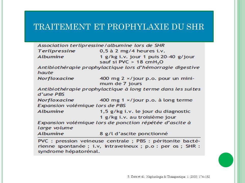 TRAITEMENT ET PROPHYLAXIE DU SHR S. Zaza et al. Néphrologie & Thérapeutique 1 (2005) 174–182