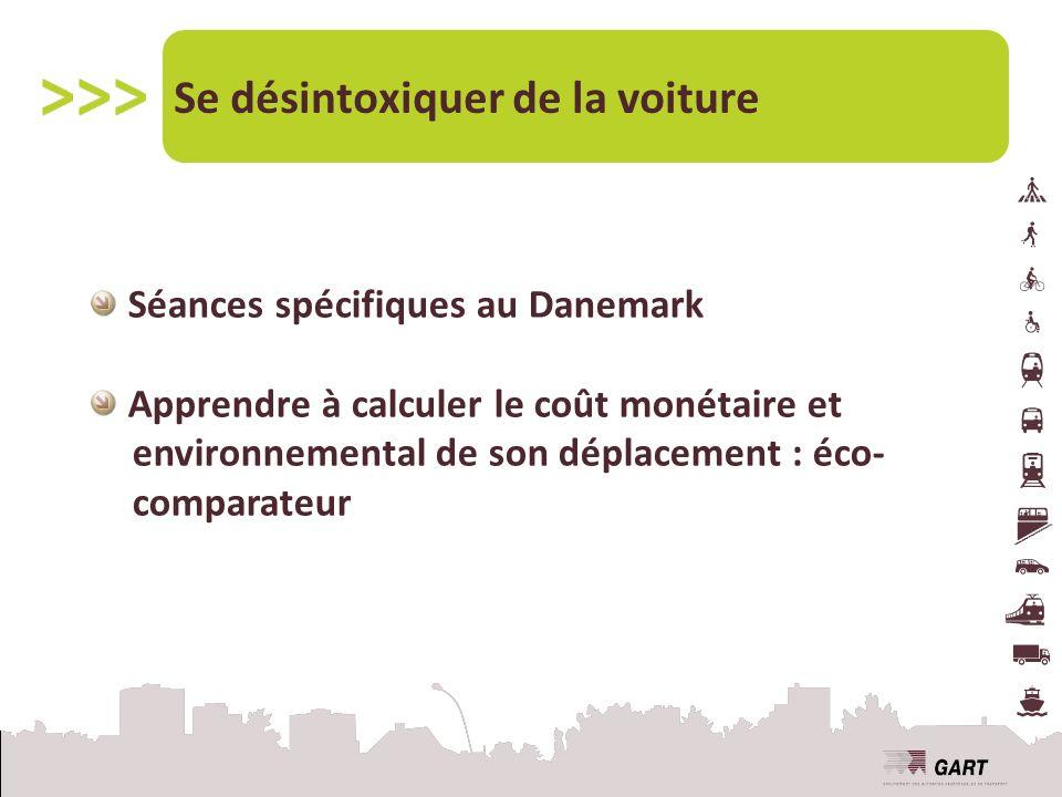 Séances spécifiques au Danemark Apprendre à calculer le coût monétaire et environnemental de son déplacement : éco- comparateur Se désintoxiquer de la voiture