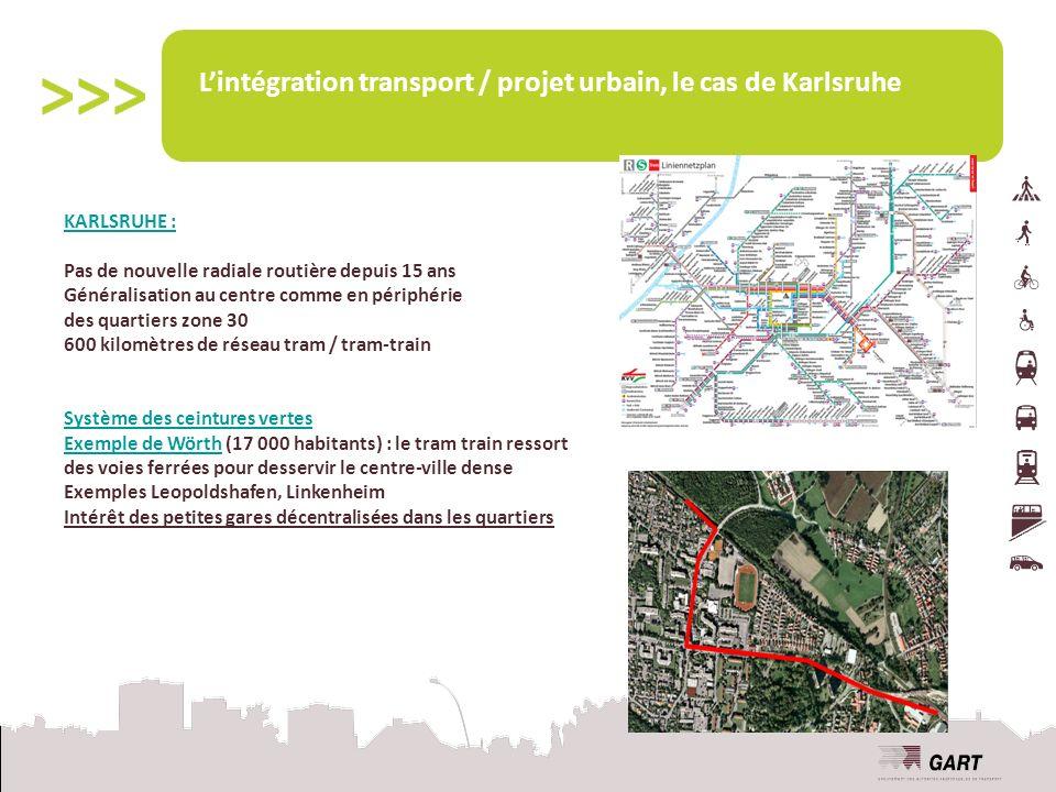 Lintégration transport / projet urbain, le cas de Karlsruhe KARLSRUHE : Pas de nouvelle radiale routière depuis 15 ans Généralisation au centre comme en périphérie des quartiers zone 30 600 kilomètres de réseau tram / tram-train Système des ceintures vertes Exemple de Wörth (17 000 habitants) : le tram train ressort des voies ferrées pour desservir le centre-ville dense Exemples Leopoldshafen, Linkenheim Intérêt des petites gares décentralisées dans les quartiers