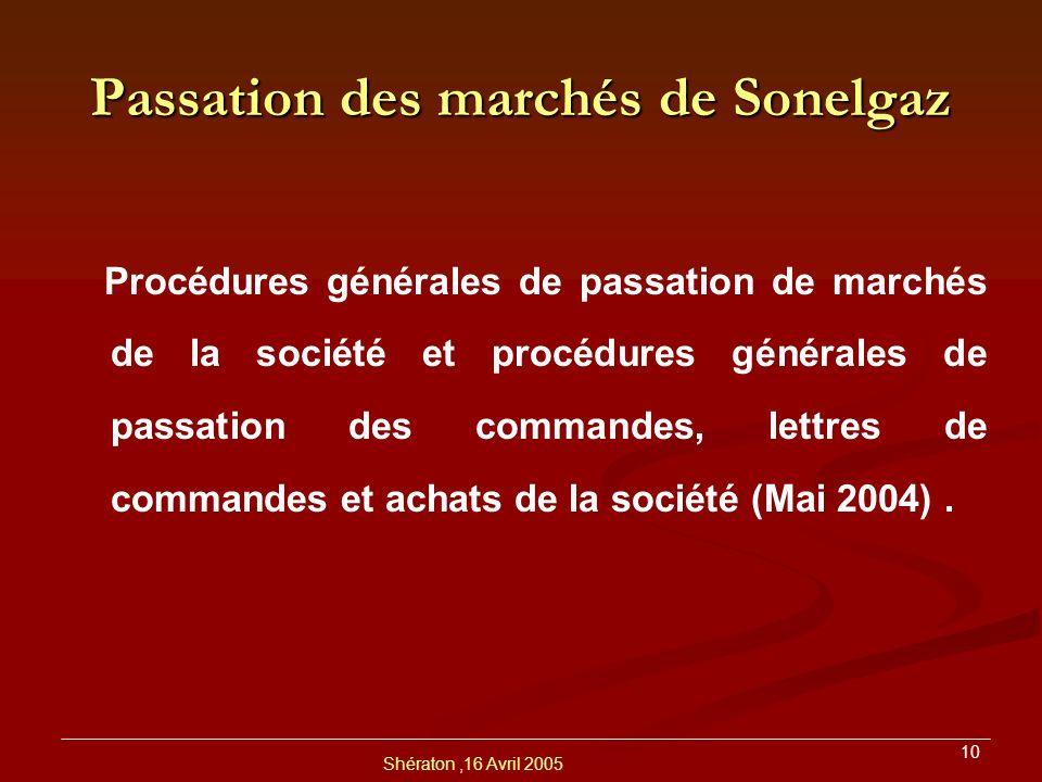 Shératon,16 Avril 2005 11 Principaux Points Communs Appel à la concurrence : Règle Générale Soumission en deux étapes distinctes : 1.