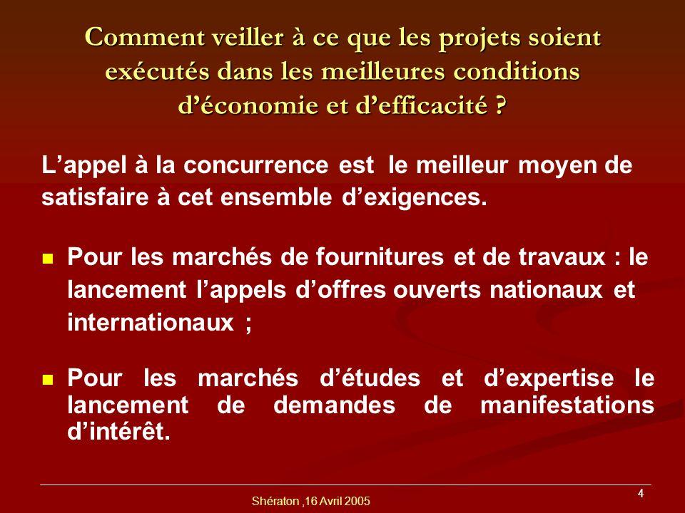 Shératon,16 Avril 2005 5 Comment donner à tous les candidats qualifiés, la possibilité de concourir pour lobtention de marchés .