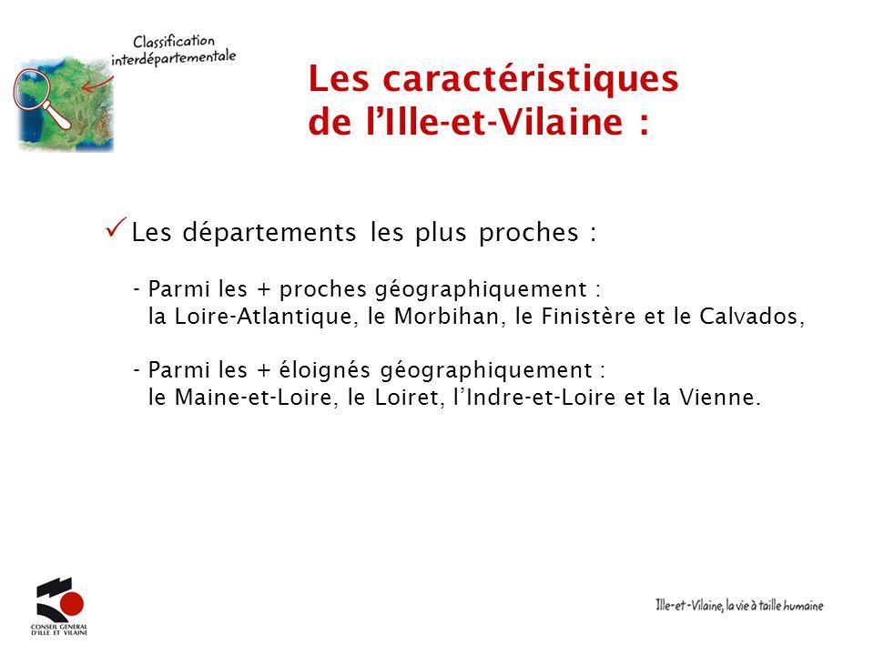 Les départements les plus proches : Les caractéristiques de lIlle-et-Vilaine : - Parmi les + proches géographiquement : la Loire-Atlantique, le Morbih