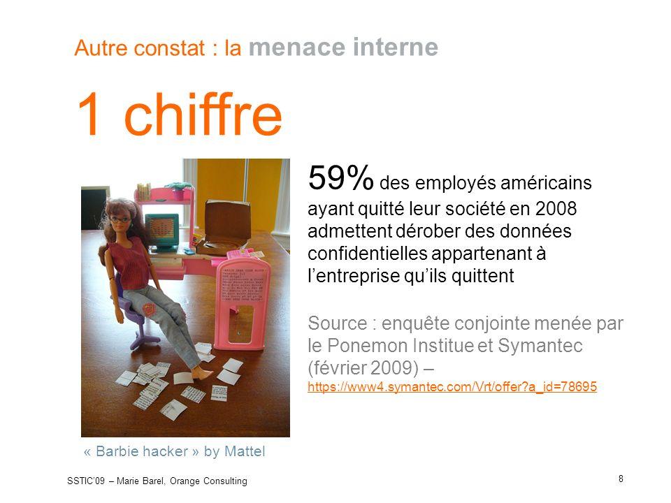 1 chiffre Autre constat : la menace interne 59% des employés américains ayant quitté leur société en 2008 admettent dérober des données confidentielle