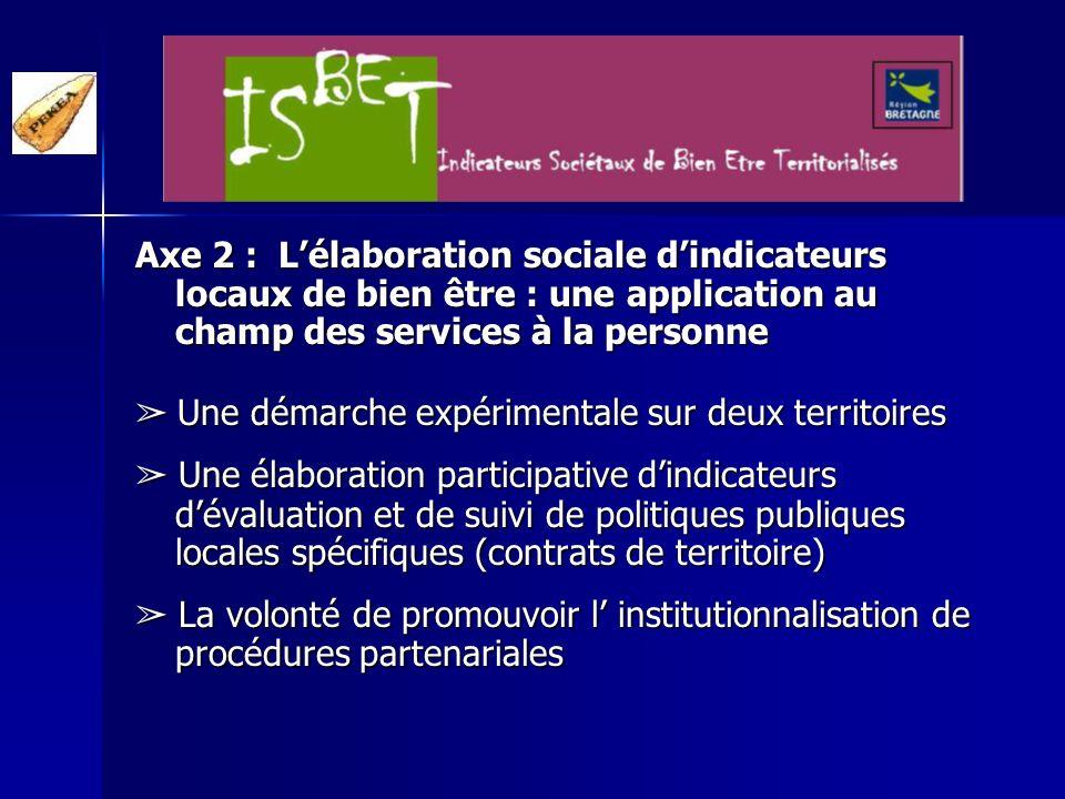 Axe 3 : U U U Une réflexion théorique approfondie sur les procédures de construction sociale des indicateurs Recension dexpériences françaises et étrangères concernant lélaboration participative dindicateurs.