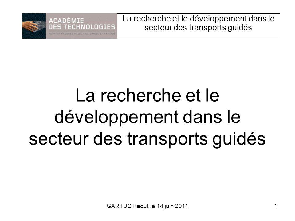 La recherche et le développement dans le secteur des transports guidés 1GART JC Raoul, le 14 juin 2011