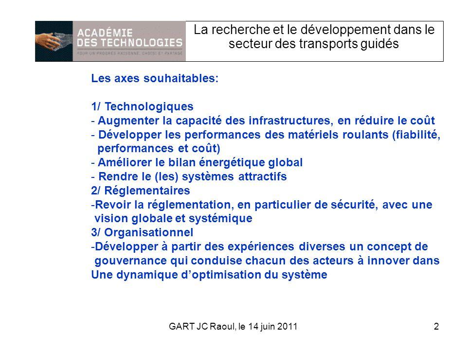 La recherche et le développement dans le secteur des transports guidés Les axes souhaitables: 1/ Technologiques - Augmenter la capacité des infrastructures, en réduire le coût - Développer les performances des matériels roulants (fiabilité, performances et coût) - Améliorer le bilan énergétique global - Rendre le (les) systèmes attractifs 2/ Réglementaires -Revoir la réglementation, en particulier de sécurité, avec une vision globale et systémique 3/ Organisationnel -Développer à partir des expériences diverses un concept de gouvernance qui conduise chacun des acteurs à innover dans Une dynamique doptimisation du système 2GART JC Raoul, le 14 juin 2011