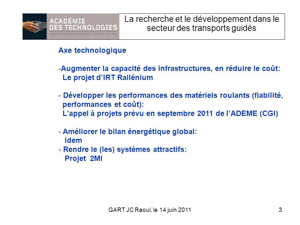 La recherche et le développement dans le secteur des transports guidés Axe technologique -Augmenter la capacité des infrastructures, en réduire le coût: Le projet dIRT Railénium - Développer les performances des matériels roulants (fiabilité, performances et coût): Lappel à projets prévu en septembre 2011 de lADEME (CGI) - Améliorer le bilan énergétique global: idem - Rendre le (les) systèmes attractifs: Projet 2MI 3GART JC Raoul, le 14 juin 2011