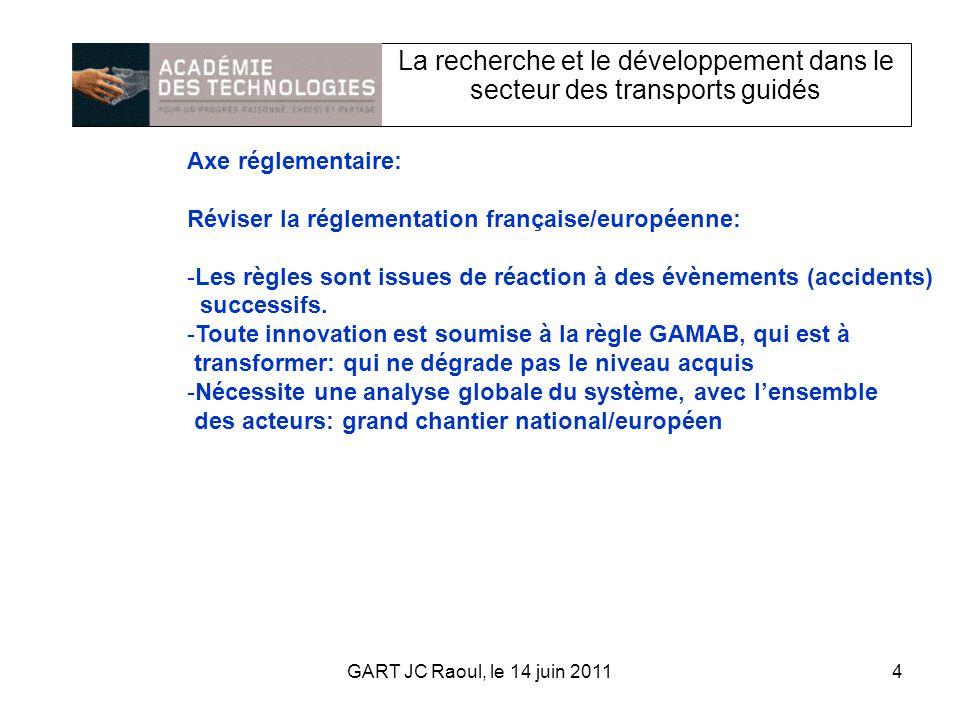 La recherche et le développement dans le secteur des transports guidés Axe réglementaire: Réviser la réglementation française/européenne: -Les règles sont issues de réaction à des évènements (accidents) successifs.