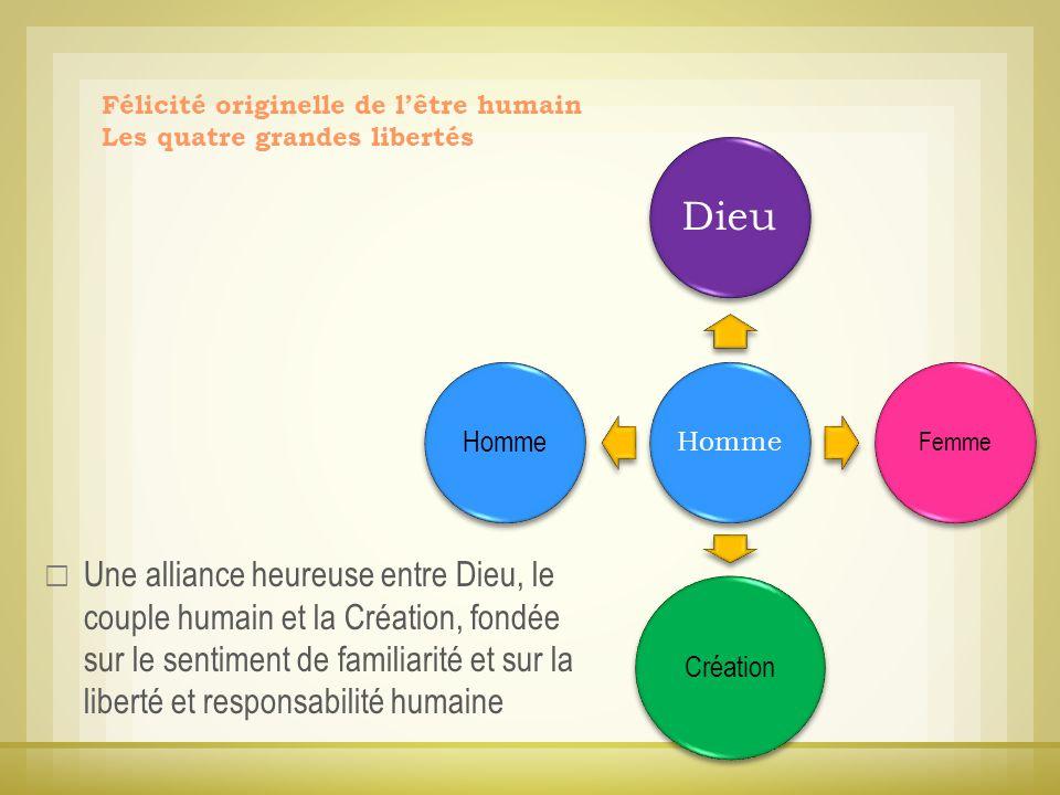 Une alliance heureuse entre Dieu, le couple humain et la Création, fondée sur le sentiment de familiarité et sur la liberté et responsabilité humaine