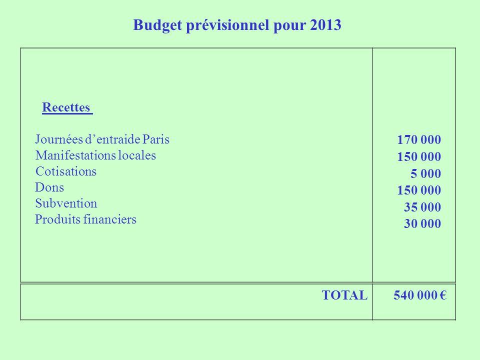 Budget prévisionnel pour 2013 Recettes Journées dentraide Paris Manifestations locales Cotisations Dons Subvention Produits financiers 170 000 150 000 5 000 150 000 35 000 30 000 TOTAL 540 000