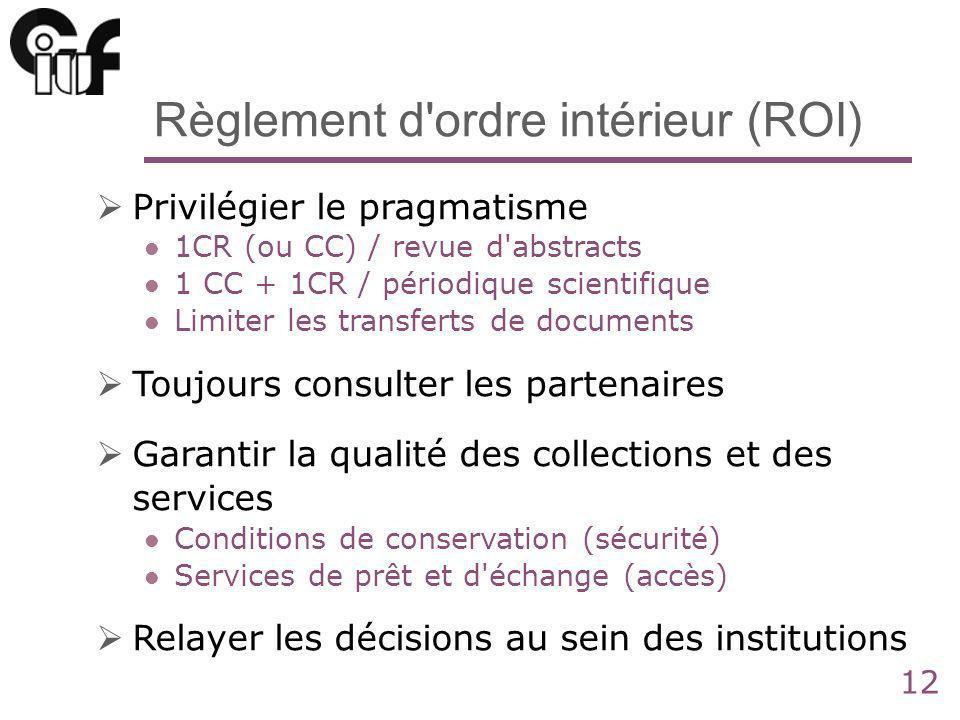 12 Règlement d'ordre intérieur (ROI) Privilégier le pragmatisme 1CR (ou CC) / revue d'abstracts 1 CC + 1CR / périodique scientifique Limiter les trans