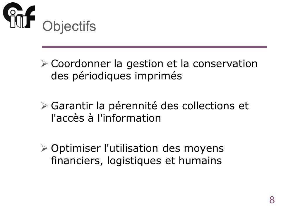 8 Objectifs Coordonner la gestion et la conservation des périodiques imprimés Garantir la pérennité des collections et l accès à l information Optimiser l utilisation des moyens financiers, logistiques et humains