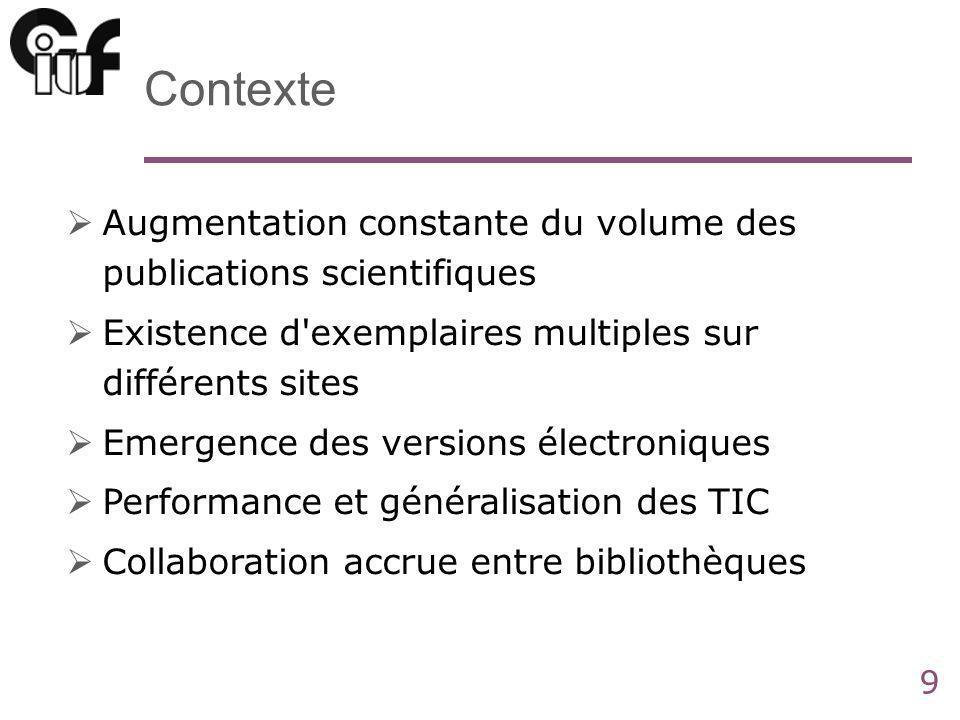 9 Contexte Augmentation constante du volume des publications scientifiques Existence d'exemplaires multiples sur différents sites Emergence des versio