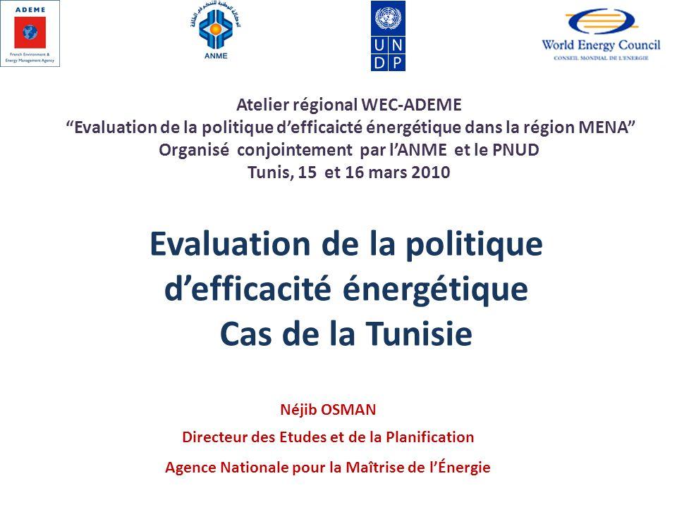 Néjib OSMAN Directeur des Etudes et de la Planification Agence Nationale pour la Maîtrise de lÉnergie Evaluation de la politique defficacité énergétiq