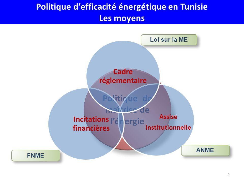 Politique de maîtrise de lénergie 4 Assise institutionnelle Incitations financières Cadre réglementaire Loi sur la ME ANME FNME Politique defficacité