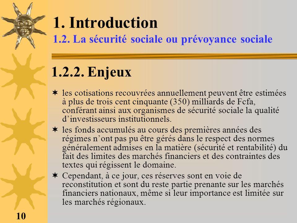 10 1. Introduction 1.2. La sécurité sociale ou prévoyance sociale 1.2.2. Enjeux les cotisations recouvrées annuellement peuvent être estimées à plus d