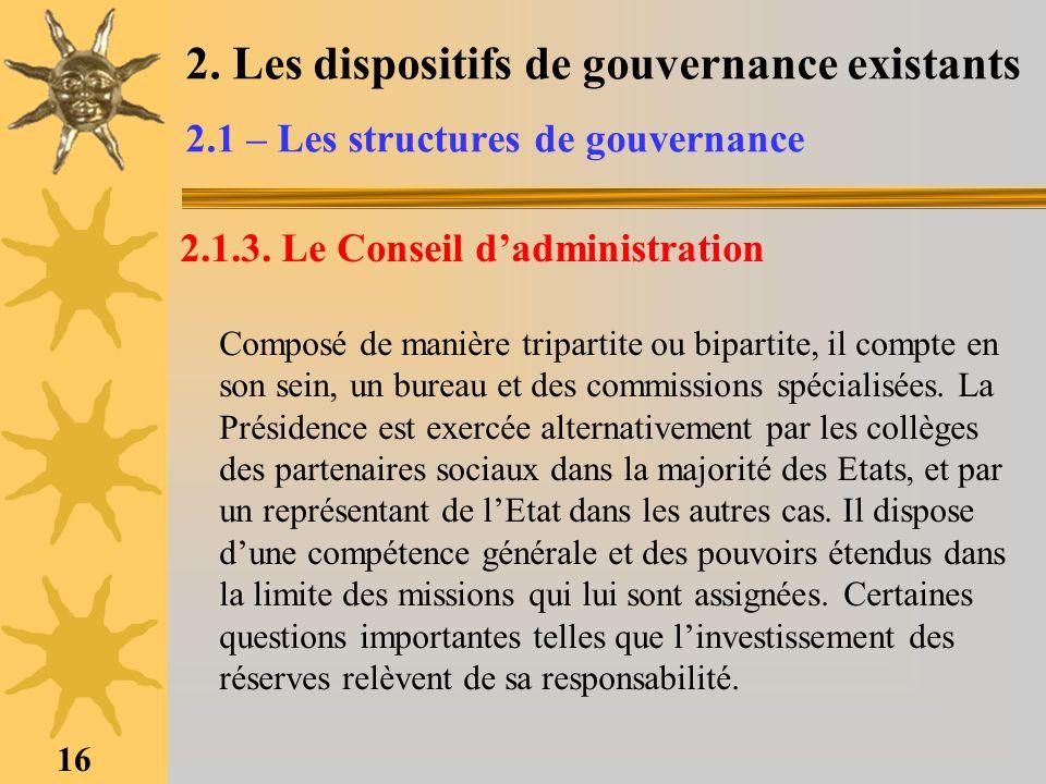 16 2. Les dispositifs de gouvernance existants 2.1 – Les structures de gouvernance 2.1.3. Le Conseil dadministration Composé de manière tripartite ou
