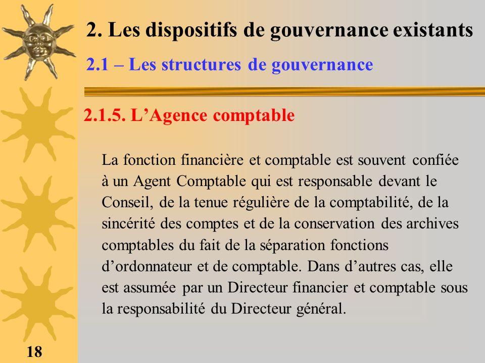 18 2. Les dispositifs de gouvernance existants 2.1 – Les structures de gouvernance 2.1.5. LAgence comptable La fonction financière et comptable est so