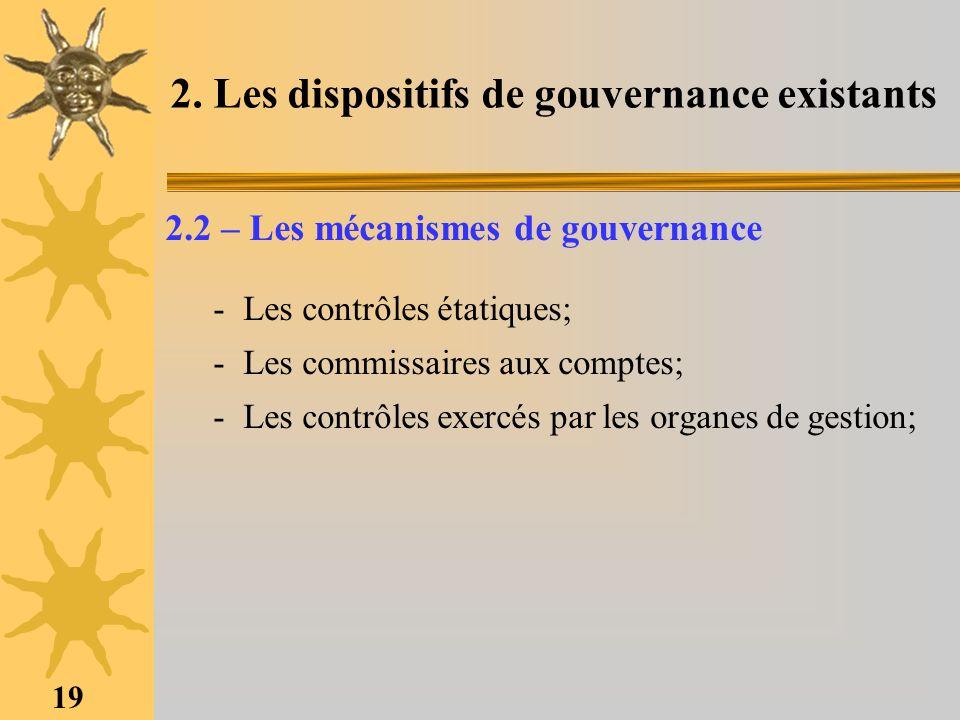 19 2. Les dispositifs de gouvernance existants 2.2 – Les mécanismes de gouvernance -Les contrôles étatiques; -Les commissaires aux comptes; -Les contr
