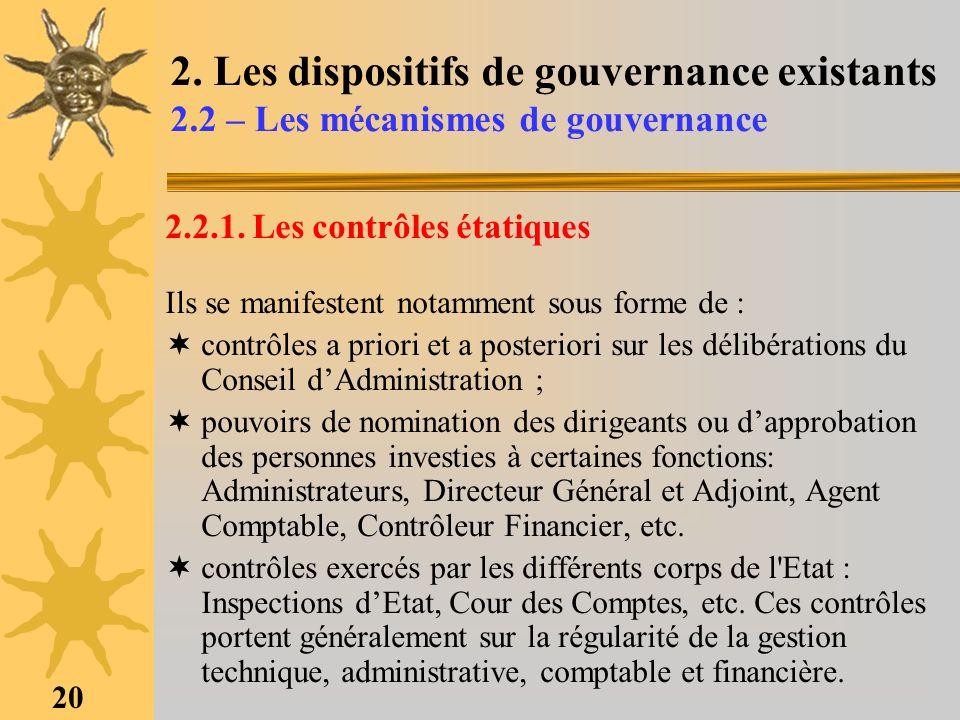 20 2. Les dispositifs de gouvernance existants 2.2 – Les mécanismes de gouvernance 2.2.1. Les contrôles étatiques Ils se manifestent notamment sous fo