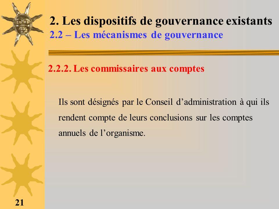 21 2. Les dispositifs de gouvernance existants 2.2 – Les mécanismes de gouvernance 2.2.2. Les commissaires aux comptes Ils sont désignés par le Consei