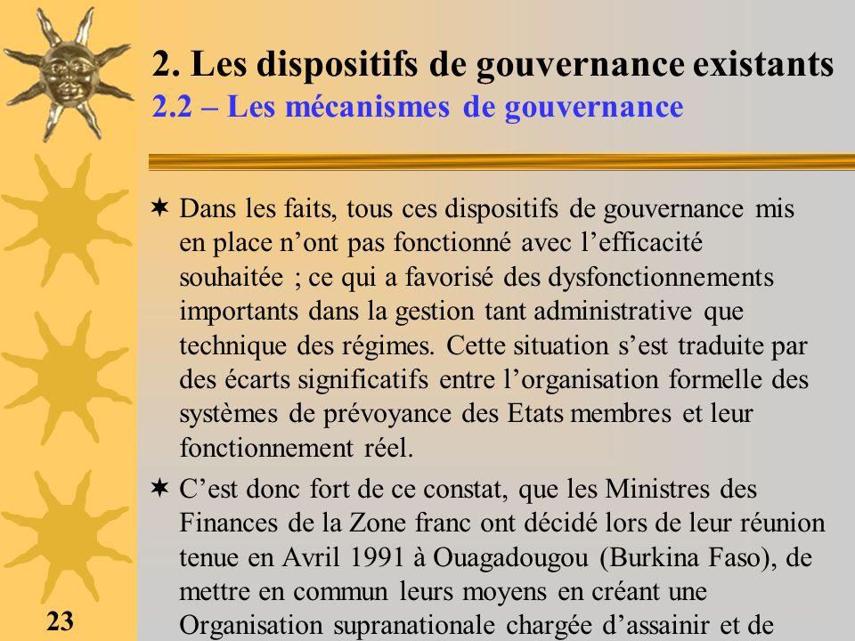 23 2. Les dispositifs de gouvernance existants 2.2 – Les mécanismes de gouvernance Dans les faits, tous ces dispositifs de gouvernance mis en place no