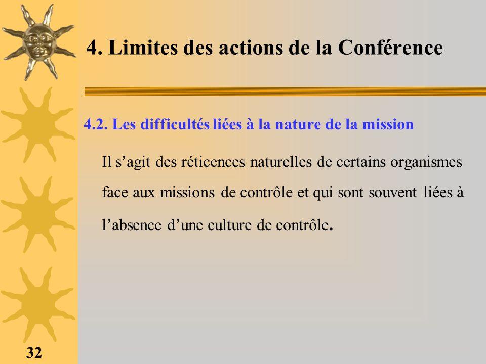 32 4. Limites des actions de la Conférence 4.2. Les difficultés liées à la nature de la mission Il sagit des réticences naturelles de certains organis