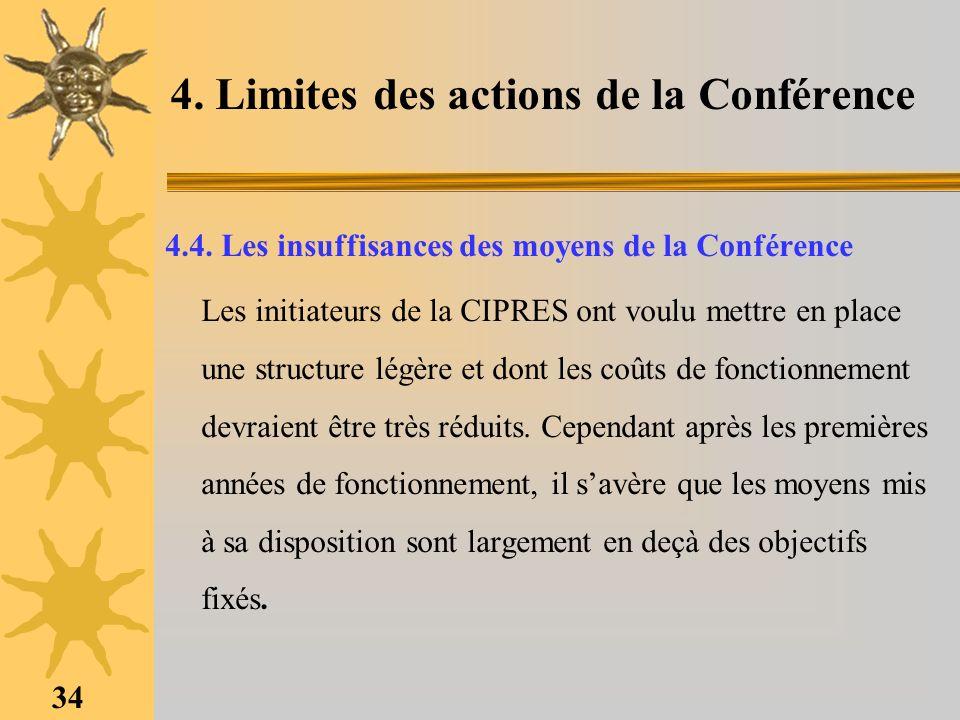 34 4. Limites des actions de la Conférence 4.4. Les insuffisances des moyens de la Conférence Les initiateurs de la CIPRES ont voulu mettre en place u