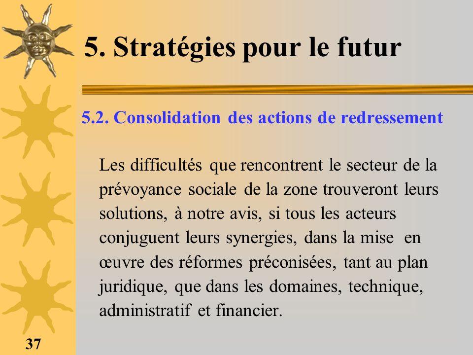 37 5. Stratégies pour le futur 5.2. Consolidation des actions de redressement Les difficultés que rencontrent le secteur de la prévoyance sociale de l