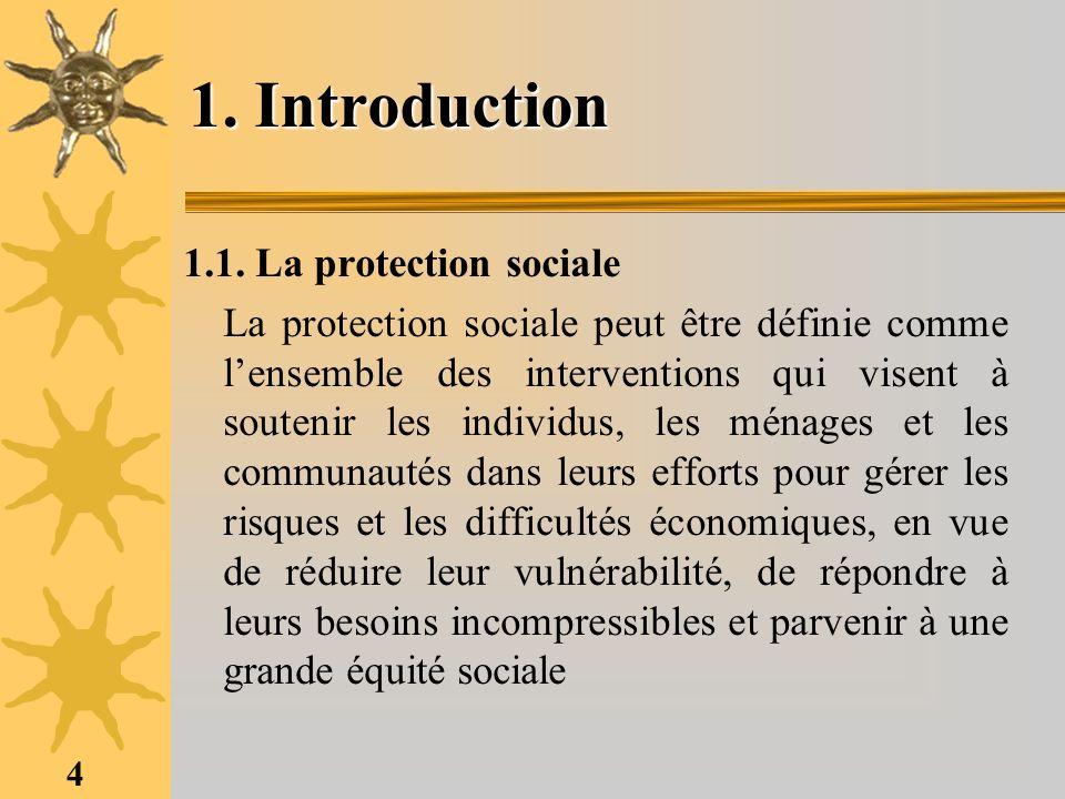4 1. Introduction 1.1. La protection sociale La protection sociale peut être définie comme lensemble des interventions qui visent à soutenir les indiv