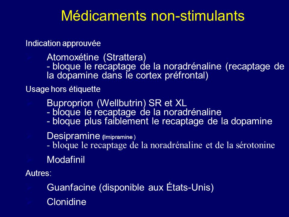 Effets secondaires des stimulants Bouche sèche Diminution appétit Inconforts gastro-intestinaux Insomnie pression sanguine Dysphorie/irritabilité (peu