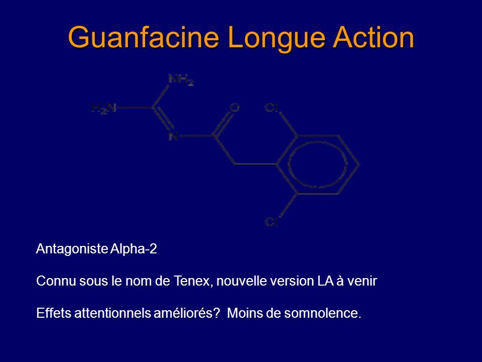 Clonidine (Catapress®) (Hunt et al., JAACAP 1985; 1986; Prince et al., JAACAP, 1996) Pharmacologie: Alpha 2a noradrenergique agoniste Dosage: 0.05 mg