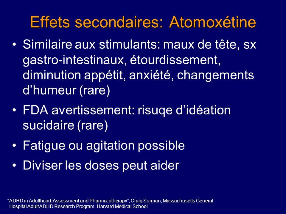 Atomoxétine Titration de 6-8 semaines toutes les 1-2 semaines - 25-40 mg - 60 mg - 80 mg - 100 mg Discussion Possibilité de commencer avec des doses p